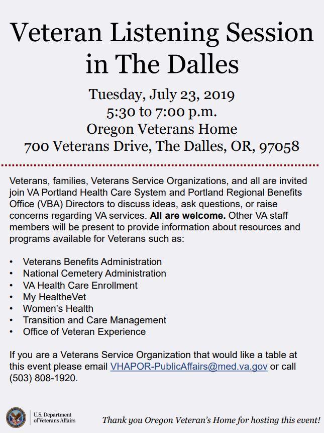 Veteran Listening Session in The Dalles – Oregon Department
